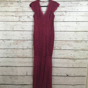 Reiss Red Lace Long Low Back Dress